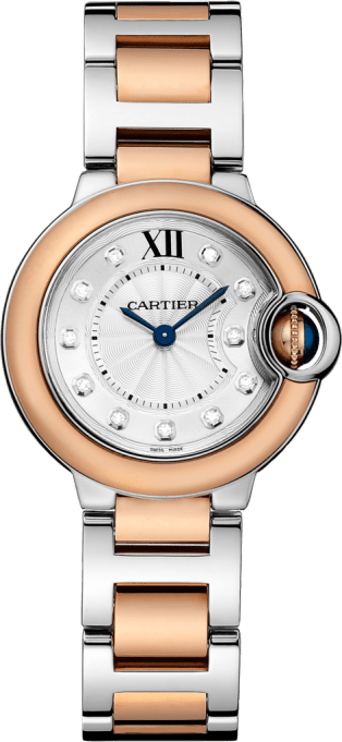Ballon Bleu de Cartier watch 28 mm, 18K pink gold and steel, diamonds