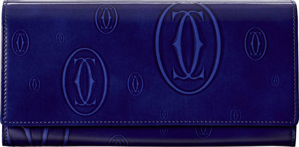 Small Leather Goods Happy Birthday international walletBlue calfskin, palladium finish