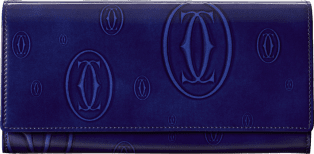 Small Leather Goods Happy Birthday international wallet Blue calfskin, palladium finish