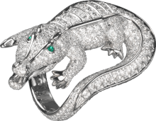 Faune et Flore de Cartier ring Platinum, emeralds, diamonds