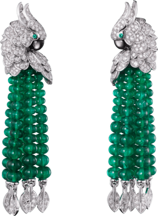 Les Oiseaux Libérés earrings White gold, emeralds, mother-of-pearl, diamonds