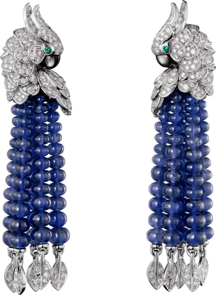 Les Oiseaux Libérés earringsWhite gold, sapphires, emeralds, gray mother-of-pearl, diamonds