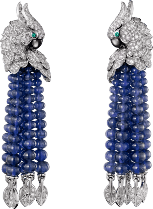Les Oiseaux Libérés earrings White gold, sapphires, emeralds, gray mother-of-pearl, diamonds