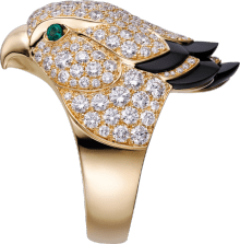 Les Oiseaux Libérés ring Yellow gold, emeralds, onyx, diamonds